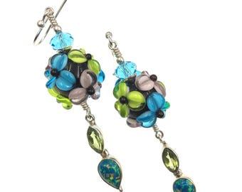 Lampwork Earrings, Artisan Dangle Earrings, Glass Bead Earrings, Aqua Lime Green Flower Earrings, Glass Bead Jewelry, Statement Earrings