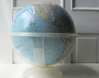 "Vintage Globe 12"" Replogle National Geographic - Clear Acrylic Base  - 1965"