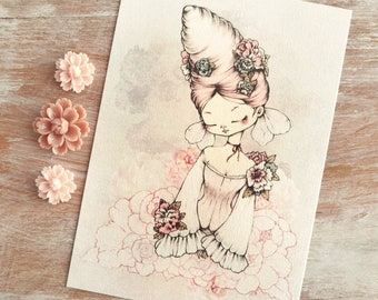 Spring Fairy Cocoon - Open edition art postcard - made to order