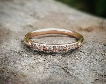 Womens Diamond Wedding Band Women Rose Gold Wedding Band Diamond Band Wedding Bands Women Solid 14K Rose Gold Band Wedding Ring Diamond Ring