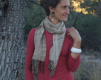 Tussah Treasure Earth Hug - Handwoven Everyday Luxury Scarf Raw Silk & Tussah Silk