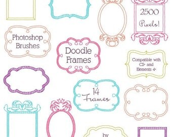 BACK TO SCHOOL Sale Doodle Frames Photoshop Brushes, Doodle Borders Photoshop Brushes - Commercial and Personal Use