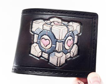 Portal Inspired Companion Cube Handtooled Leather Wallet