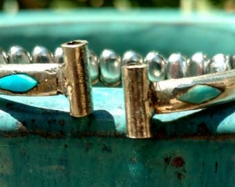 Sterling silver watch band, watch, Western watch, Turquoise jewelry, Turquoise watch band, Indian jewelry, Navajo, woman's wrist watch. Eton