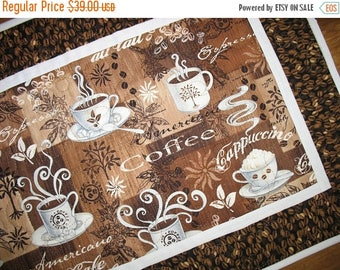 Sale Christmas in July Coffee Table Runner, quilted table runner, handmade, cappuccino, expresso, coffee beans. handmade