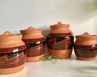Southwest Terra Cotta Canister Set