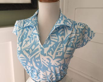 VINTAGE 60s Blue & White ATOMIC Print Button Down Short Sleeve Blouse