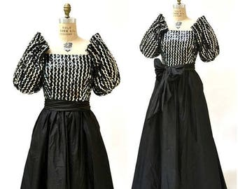 SALE Vintage 80s Prom Dress XS Small Black Silver Sequin Evening Ball Gown// Vintage Silver Sequin Dress Small Princess Dress