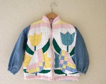 SALE Vintage Quilted Jacket Girls// Recycled Quilt Patchwork Girls Vintage Denim Jacket// GIrls Vintage Denim Jacket Size Medium