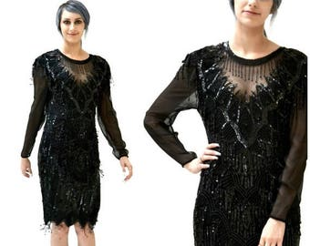 SALE 90s does 20s Vintage Black Sequin Dress Size Small Medium// Vintage Black Flapper Inspired Dress Beaded Fringe Dress Size Small Medium