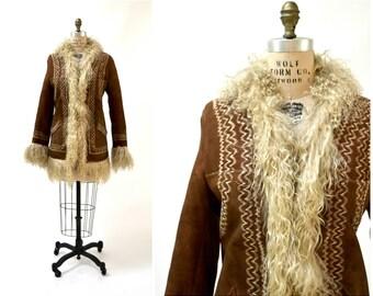 Vintage Embroidered Shearling Afghan Jacket Coat XS Small Brown//  70s Shearling Coat Embroidered Fur Jacket Penny Lane Boho Afghan Jacket