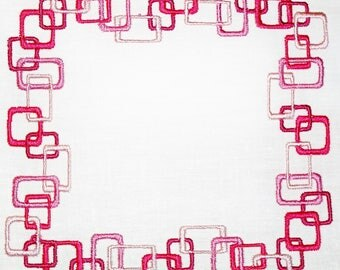 Art deco pink squares embroidered quilt label to customize with your personal message