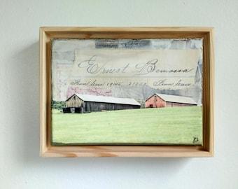 "Barn Art, 5x7"" Original Art in 6x8 Floating Frame, Massachusetts Pioneer Valley, Farm Art, MA Art, Red Barn, Gray Barn, ""In the Barns II"""