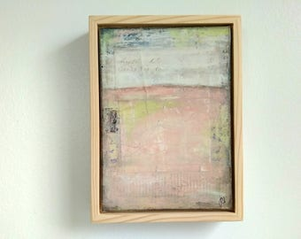 """Abstract Painting, 5x7"""" framed Abstract Art, Abstract Landscape, Rustic Painting, Mixed Media Painting, Pale Pink Painting """"Camelia"""""""
