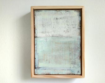"""Abstract Painting, 5x7"""" framed Abstract Art, Abstract Landscape, Rustic Painting, Mixed Media Painting, Pale Blue Painting """"Morning Glory"""""""
