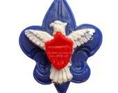 Scout Soap, Boy Soap, Eagle Shield Fleur De Lis, Red White & Blue, Scouts, Camping, American, Soap for Boys, You pick the scent
