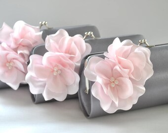 Set of 5-Small Bridesmaid clutches / Wedding clutches - CUSTOM COLOR