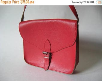 Summer Sale Small square red leather vintage purse  buckle closure adjustable cross body bag