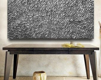 SALE Custom Abstract Texture Painting 60 x 30 Original Modern Silver Pewter Carved Metallic Knife Oil by Je Hlobik