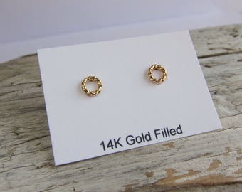 Gold circle studs, gold earrings, open circle posts, small studs.