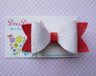 Red and White Vinyl Hair Bow - Small Bow - Toddler Girls Hair Bow - Vinyl Bow