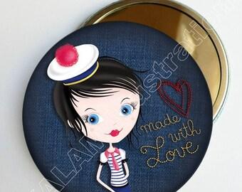 """Petit miroir de poche """"Miss pompon"""", matelote, bleu jean, accessoire de fille"""