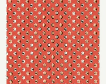SALE 30% OFF - FLORENCE Boxer Medallion in Carnelian Pwds056 - Denyse Schmidt - Free Spirit Fabric - By the Yard