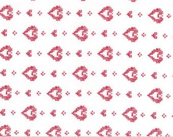 Moda Nordic Stitches, Red Hearts Scandi Fabric, Hjerte, Valentine, Farmhouse Christmas Decor, Country Decor, Quilt, Fabric By the Yard
