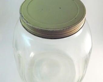 Big Glass Canister, Large Gallon Jar, 5238 Hazel Atlas Vintage Jar, Clear Glass Screw Lid Jar, Kitchen Storage Jar, Art Deco Jar, Flour Jar