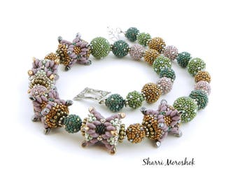 Beaded Bead Necklace and Earrings set by Sharri Moroshok