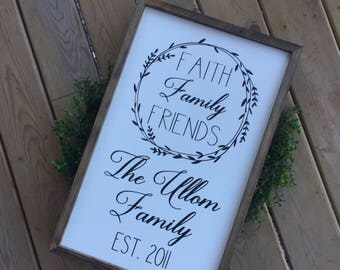 Farmhouse Sign, Personalized Sign, Rustic Sign Personalized, Faith, Family, Friends Sign, Personalized Gift, Wedding Gift, Christmas Gift