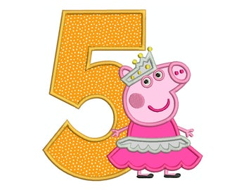 PEPPA PIG BALLERINA Number 5 - Machine Applique Embroidery - Instant Digital Download