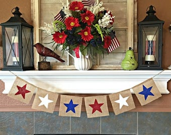 July 4th Banner, July 4 Banner, Patriotic Banner, July 4 Burlap Banner, Summer Banner, Red White Blue, 4th of July Bunting, July 4 Decor