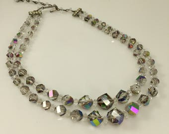 Aurora Borealis Crystal Necklace, Faceted glass beads, Graduating beads. Multi strand Choker, Smoky grey, Vintage Jewelry