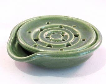 Soap Dish - Handmade Pottery - Green Soap Dish - Drain Tray - One Piece - Soap Saver - Pottersong - Kitchen or Bath - Bright Green
