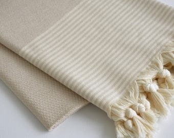 NEW / SALE 50 OFF/ BathStyle / Beige / Turkish Beach Towel Peshtemal / Wedding Gift, Spa, Swim, Pool Towels and Pareo