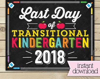Last Day of Transitional Kindergarten Sign - Last Day of TK - First Day of School Sign Printable - End of School Sign - Instant Download