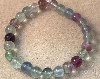 Rainbow Purple Clear & Green AAA Fluorite 8mm Round Stretch Bead Bracelet for Arthritis, Protection and Intuition