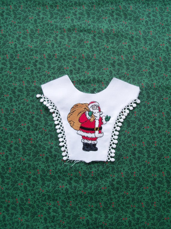 "18"" Size/ COMPLETELY FINISHED  Embroidered  Christmas Bodice Front Overlay / 18"" American Girl  Doll Size"
