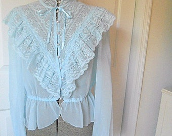 Vintage 70's semi sheer romantic lace Jacket