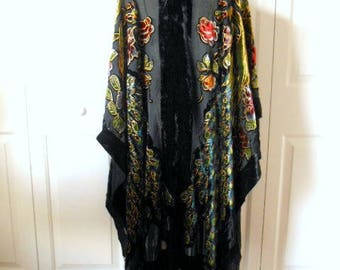 Vintage peacock Burn out fringed Piano Shawl Wrap