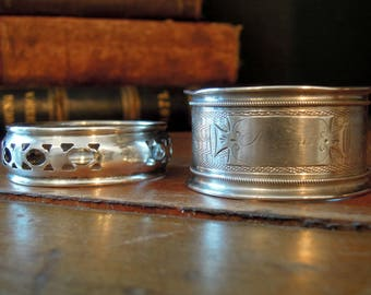 Two Vintage Sterling Silver Napkin Rings / Round Napkin Rings / Silver Napkin Holders / Monogrammed Minnie