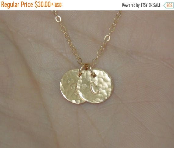 SALE - Hammered Gold Initial Disc Necklace, Custom 1 2 3 4 5 6 7 8 9 Initials Necklace, Couples Initial Jewelry, BFF Gift, Mothers Jewelry,