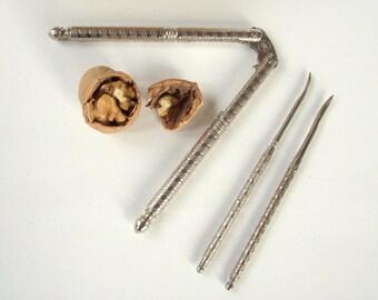 Nut Cracker with Nutpicks , HMQ Nutcracker Set , Vintage Quackenbush Nutcracker and Nutpicks