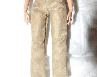 Fashion Doll Coordinates - Tan Cordoroy pants - es436