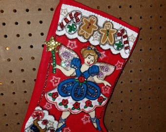 Handmade finished Christmas stocking with a ballet dancing sugar plum fairy - fsk32