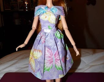 Cute purple butterfly print & sparkle dress for Fashion Dolls - ed1037