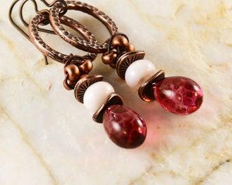 Boho Chic Copper Pink Handcrafted Lampwork Headpins HavanaBeads  Earrings Hoop Earrings