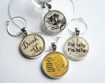 Alice in Wonderland..Cheshire Cat..I'm late I'm late..Drink Me..We're All Mad Here..Wine Charms