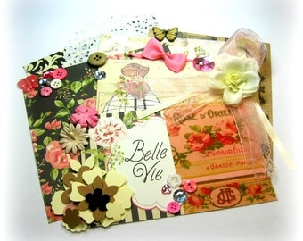 Julie Nutting Belle Vie Inspiration Kit / Embellishment Kit / Vintage Ephemera for Scrapbook Layouts Cards Mini Albums Tags  Paper crafts 2